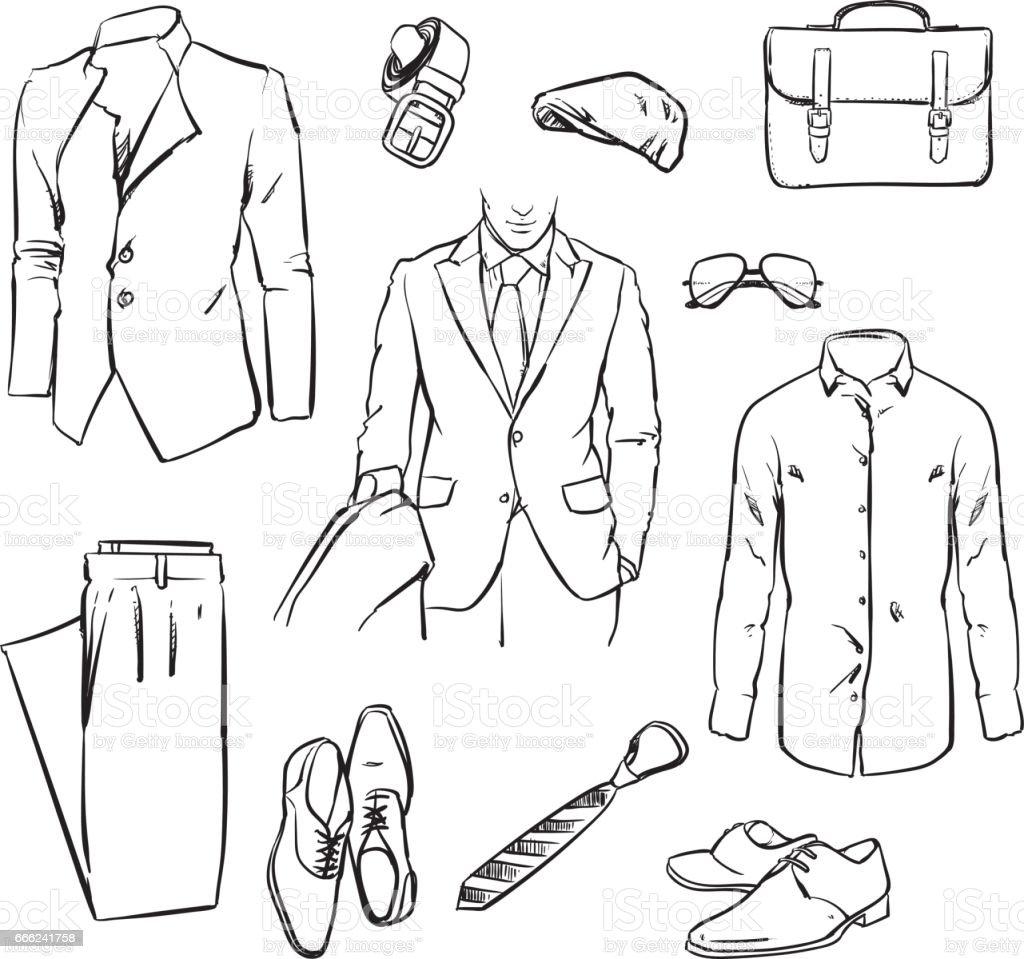 handsome business man suit. office uniform. vector sketch illustration. – Vektorgrafik