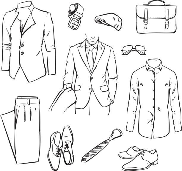 Handlicher Geschäftsmann Anzug. Bürouniform. Vektorskizze. – Vektorgrafik
