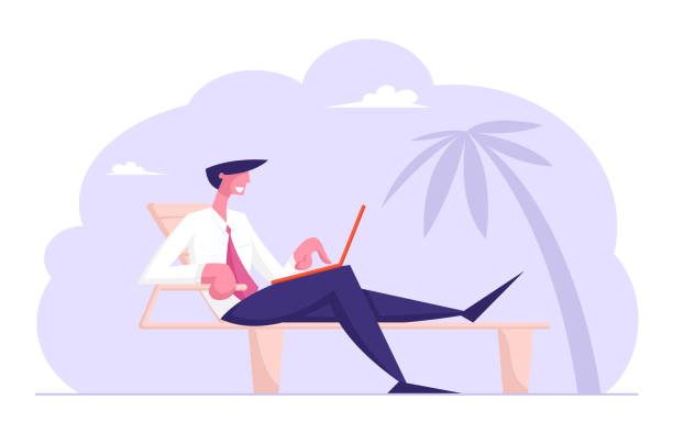 Handsome Businessman in Formal Wear Sitting on Daybed under Palm Trees on Exotic Tropical Beach Working on Laptop. Freelancer or Distant Employee, Summer Vacation. Cartoon Flat Vector Illustration Handsome Businessman in Formal Wear Sitting on Daybed under Palm Trees on Exotic Tropical Beach Working on Laptop. Freelancer or Distant Employee, Summer Vacation. Cartoon Flat Vector Illustration chaise longue stock illustrations
