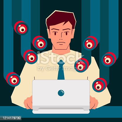 General Data Protection Concept Vector Art Illustration. Handsome businessman uses laptop, lots of periscopes are peeking at its monitor, GDPR concept.