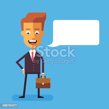 825082848istockphoto Handsome businessman  with a briefcase. Vector. 488794072