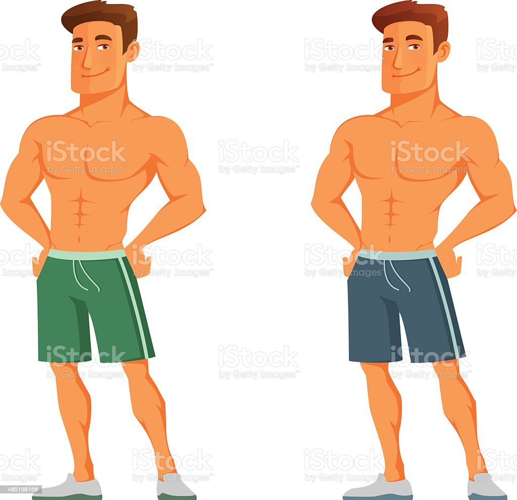 handsome cartoon guy flaunting his muscles vector art illustration