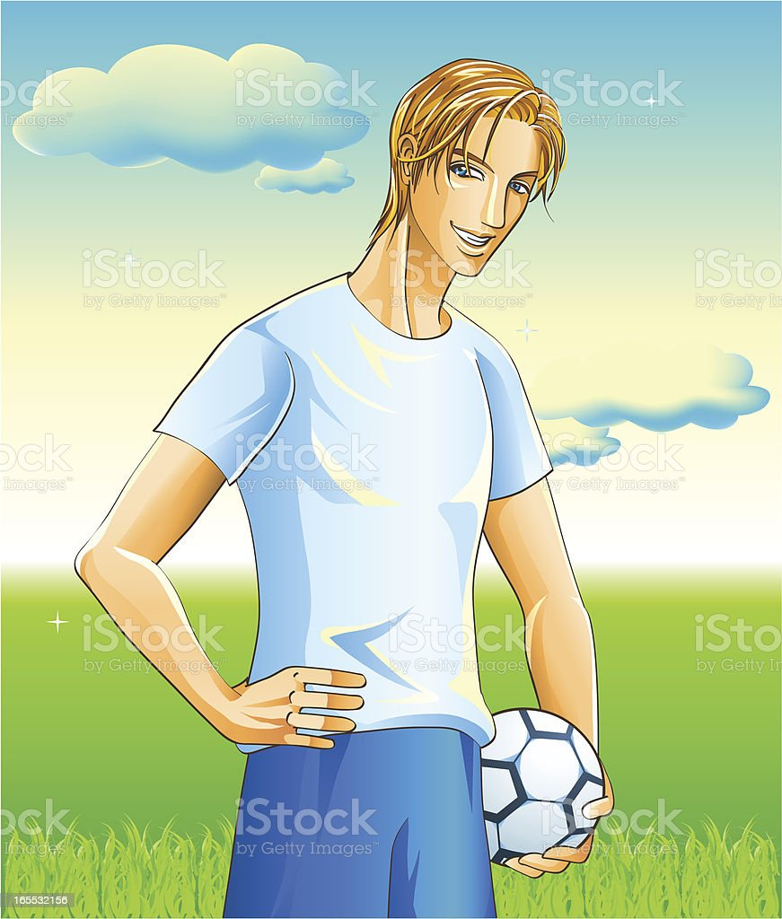 Handsome Football Player on Football-Court royalty-free stock vector art