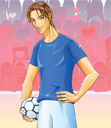 Handsome Football Player with a lot of girl fans