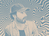 Stipple portrait of a Handsome Hipster young man with psychedelic background