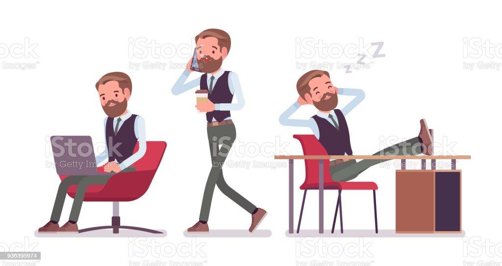 Empregado de escritório masculino bonito no trabalho - ilustração de arte em vetor