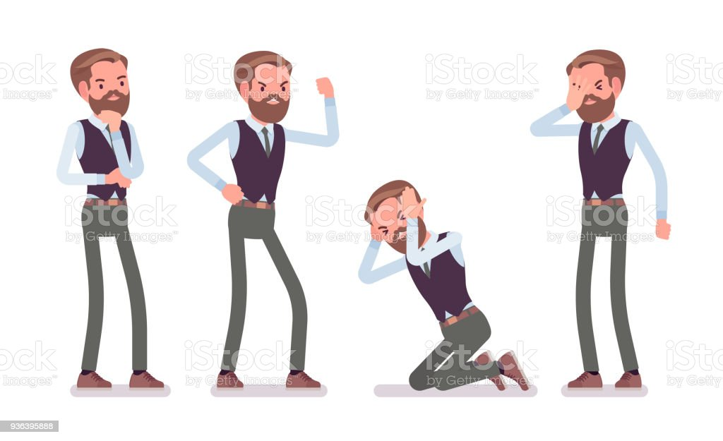 Handsome male office employee feeling negative emotions vector art illustration