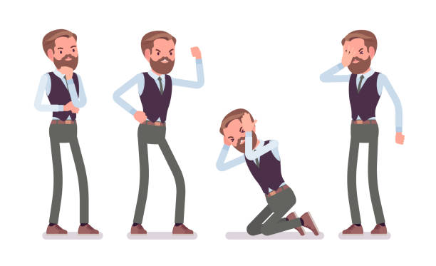handsome male office employee feeling negative emotions - anger stock illustrations