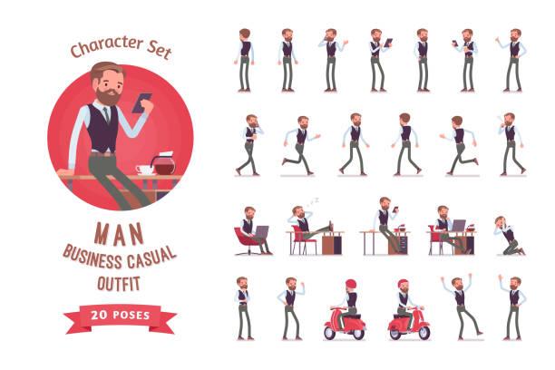 Beau bureau masculin employé prêt à l'emploi de caractères - Illustration vectorielle