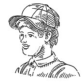 Handsome Man Baseball Cap Drawing