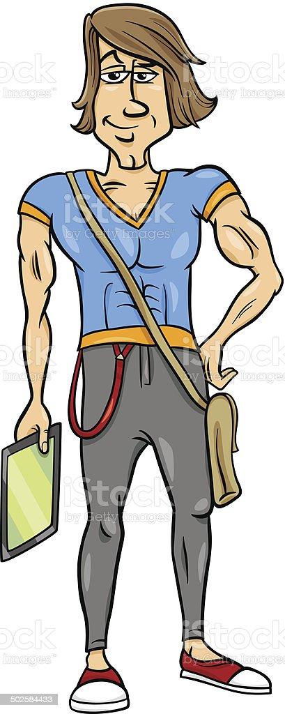 handsome man cartoon illustration vector art illustration