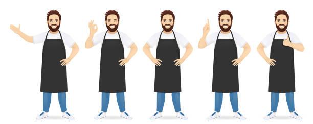 illustrations, cliparts, dessins animés et icônes de homme bel dans le tablier - boulanger