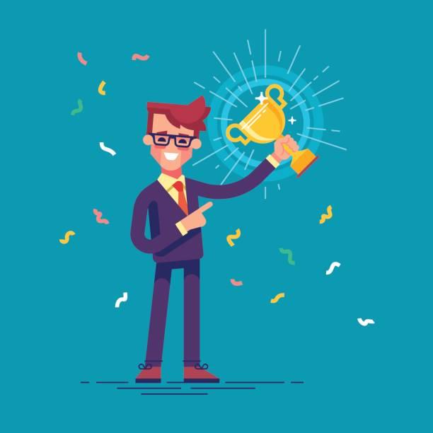 ilustraciones, imágenes clip art, dibujos animados e iconos de stock de hombre guapo en traje formal es sosteniendo una copa de oro y sonrisa amable. ilustración de vector de diseño plano. - corredor de bolsa