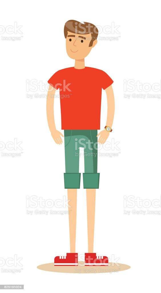 handsome man in shorts vector art illustration