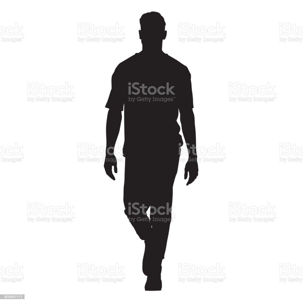 T シャツ、分離ベクトル シルエット、フロント ビューに歩きでハンサムな男 ロイヤリティフリーt シャツ分離ベクトル シルエットフロント ビューに歩きでハンサムな男 - 1人のベクターアート素材や画像を多数ご用意