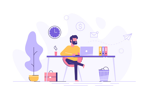 Handsome man is working at his laptop. Modern office interior with work process icons on the background. Vector illustration. clipart
