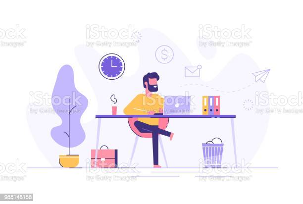 Handsome man is working at his laptop modern office interior with vector id955148158?b=1&k=6&m=955148158&s=612x612&h=rpz4ugbps3wjdtas2ia6sukqvi5g9s57eckiponvgu0=