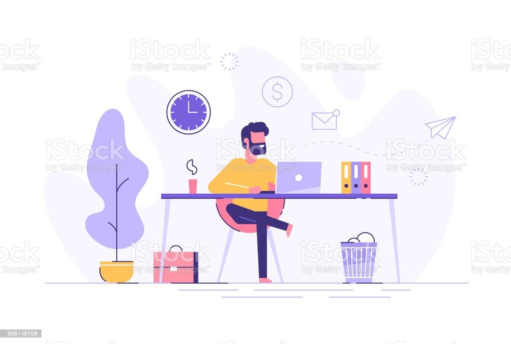 Hombre guapo está trabajando en su portátil. Interior de la oficina moderna con los iconos de proceso de trabajo en el fondo. Ilustración de vector. - ilustración de arte vectorial