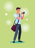 handsome man taking a photo vector illustration design