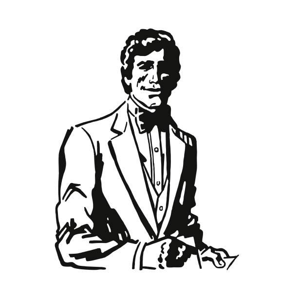 ilustrações, clipart, desenhos animados e ícones de homem bonito, vestindo um smoking - moda urbana