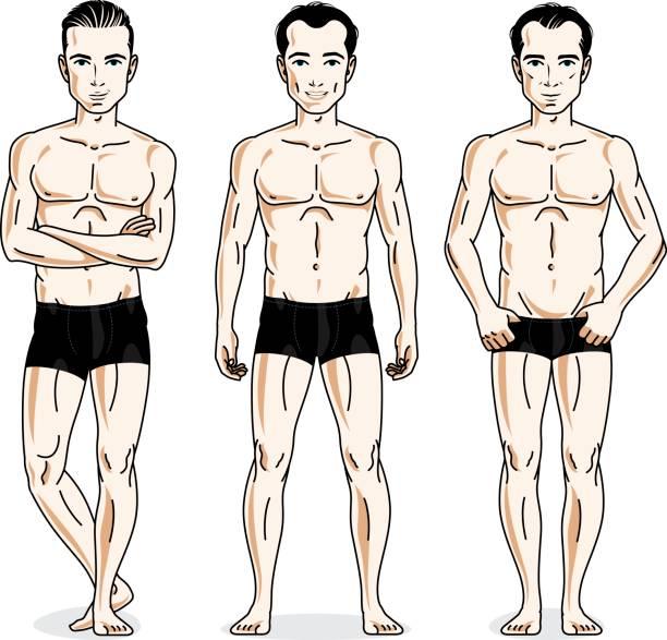 illustrations, cliparts, dessins animés et icônes de beaux hommes posant dans des sous-vêtements noirs. jeu des illustrations vectorielles personnes. - homme slip