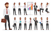 Handsome office businessman character different poses design. Vector cartoon man illustration