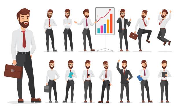 ilustrações, clipart, desenhos animados e ícones de personagem de homem de negócios escritório bonito diferente apresenta projeto. ilustração em vetor homem dos desenhos animados. - business man
