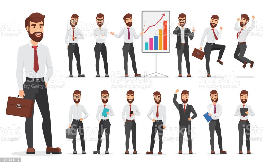 Handsome office businessman character different poses design. Vector cartoon man illustration. vector art illustration