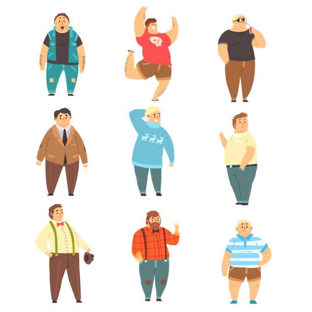 illustrazioni stock, clip art, cartoni animati e icone di tendenza di handsome overweight men set, fat guys in fashionable clothes, body positive vector illustrations on a white background - obesity