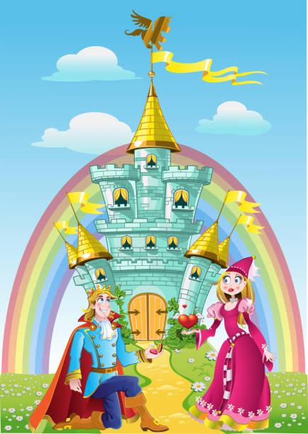 ilustrações de stock, clip art, desenhos animados e ícones de handsome prince asked the hand of princess near magic castle - ivy building