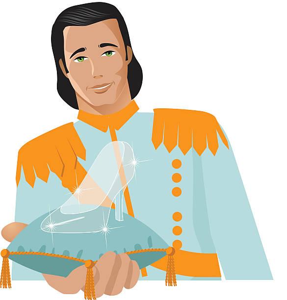 schöne prinz bietet glasschuh - prince stock-grafiken, -clipart, -cartoons und -symbole