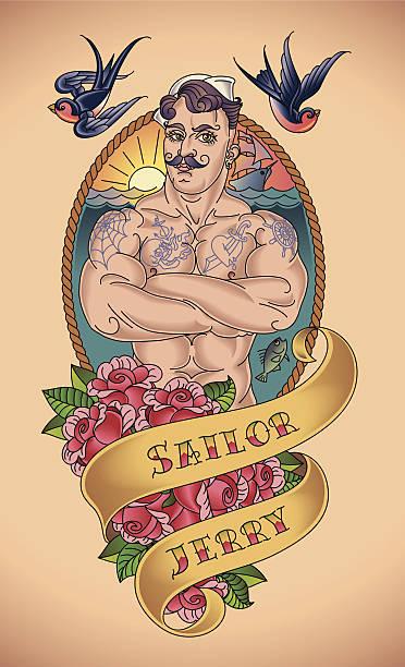 illustrations, cliparts, dessins animés et icônes de joli tatouage marin - tatouages marins