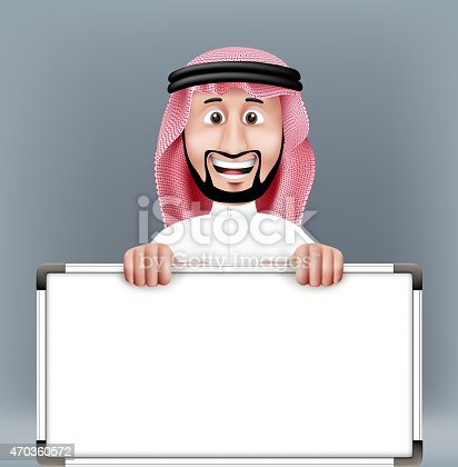 3D Handsome Saudi Arab Man in Traditional Dress Stand Holding Big Blank White Board with Space for Text or Business Messages while Smiling and Talking. Editable Vector Illustration