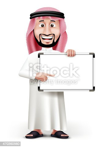 3D Handsome Saudi Arab Man in Traditional Dress Stand Pointing Blank White Board with Space for Text or Business Messages while Smiling and Talking. Editable Vector Illustration