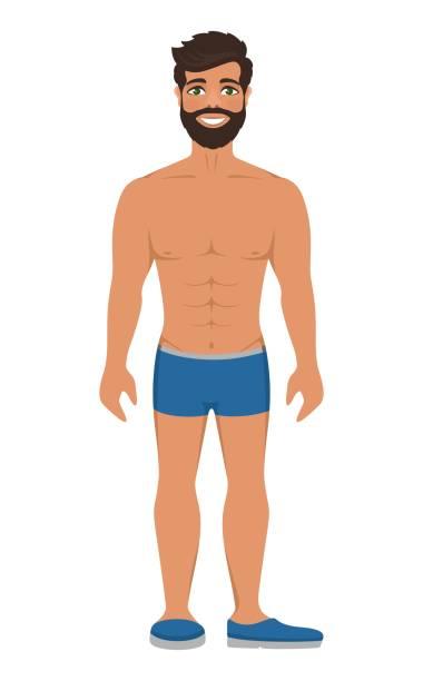 ilustrações de stock, clip art, desenhos animados e ícones de handsome smiling man in underwear or blue swimming trunks. - tronco nu