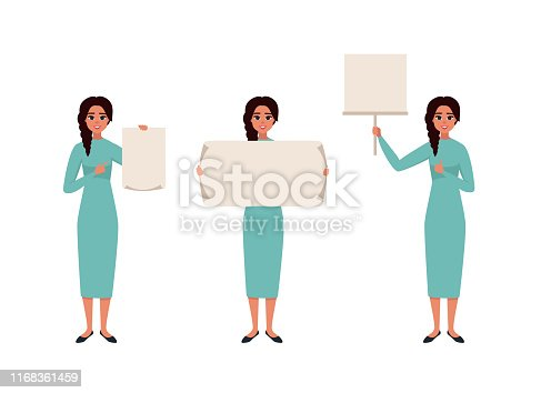 Set of character a handsome smiling woman in casual clothes in different poses with a blank poster. Placard for advertising. Vector illustration in cartoon style.