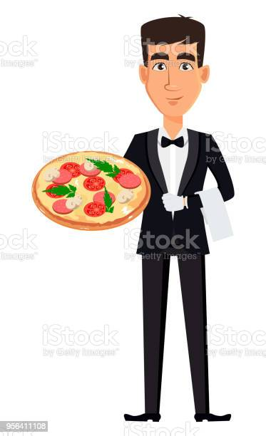 Handsome Waiter Wearing A Professional Uniform Stock Illustration Download Image Now Istock