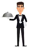Handsome waiter wearing a professional uniform. Cheerful cartoon character holding restaurant cloche. Restaurant staff. Vector illustration.
