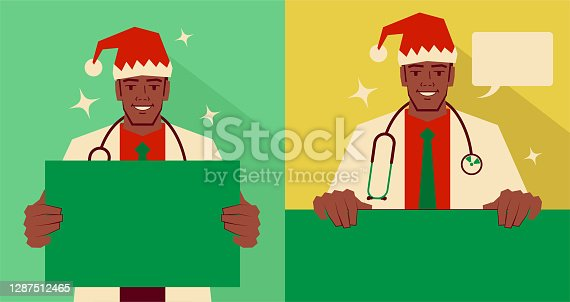 istock Handsome young doctor dressed in a Santa Claus suit holding a blank sign and giving you advice, with two postures 1287512465