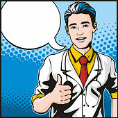 Comic book style pop art illustration of a handsome young male doctor standing in a confident pose giving us the thumbs up. Empty speech bubble for your text, which is easy to remove in vector format.