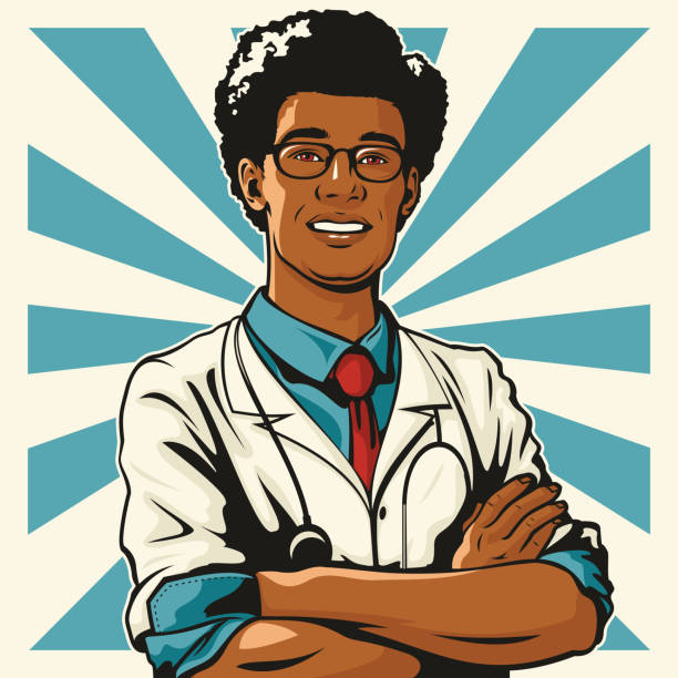Handsome Young Male Doctor vector art illustration