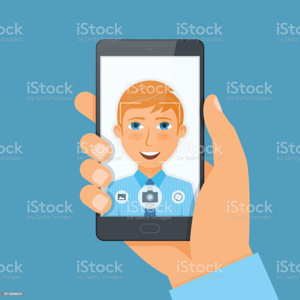 Handsome young man boy takes selfie using a smartphone. vector art illustration
