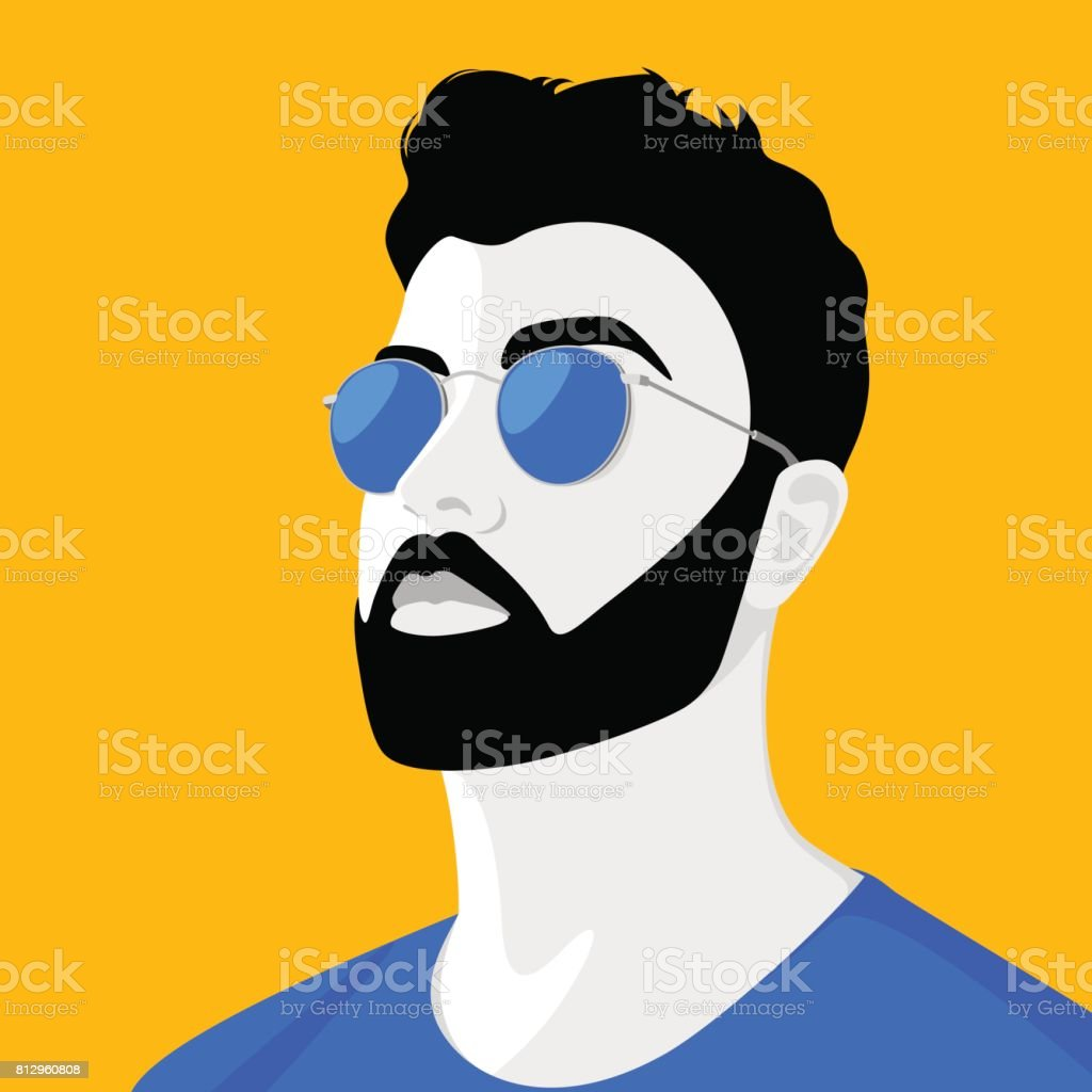 Handsome young man wearing sunglasses vector art illustration
