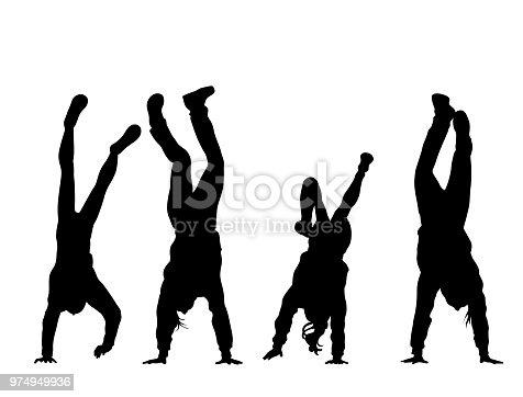 Bunch of friends doing a handstand