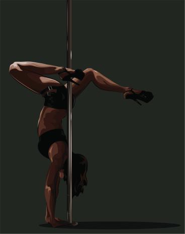 Handstand near the pole.