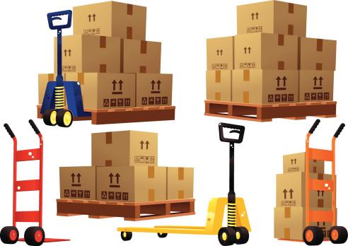 Handtrucks, pallets and cardboard boxes