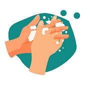Handwashing illustration. Water, washing hands, cleaning. Hygiene concept. Vector illustration can be used for healthcare, skincare, hygiene