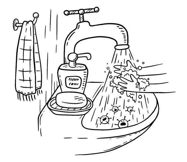 Handwashing with soap or hand hygiene helps to prevent infections and avoid germs and viruses vector art illustration