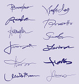 Vector Illustration with a collection of several simulated Handwrinting Signatures