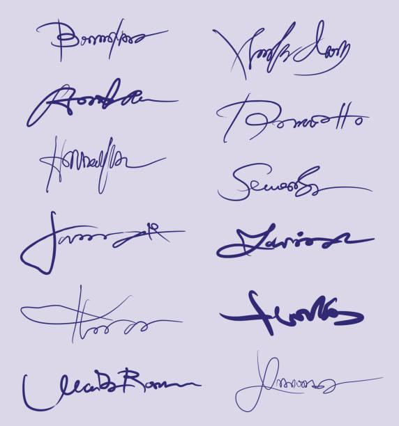 handwrinting signature collection - unterschrift stock-grafiken, -clipart, -cartoons und -symbole
